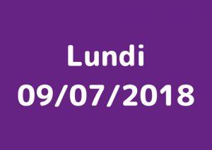 Lundi 9 juillet 2018